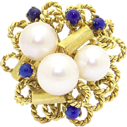 14k Yellow Gold 7mm White Cultured Pearl Blue Lapis Cluster Cocktail Ring