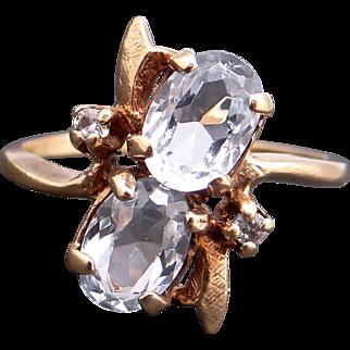 Retro 10k Yellow Gold Twin 1.60ct Oval Cut Blue Topaz Diamond Band Ring Size 6