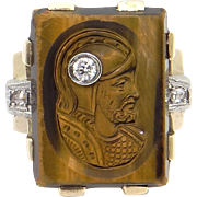 Men's 10k Yellow Gold Carved Tiger Eye Diamond Intaglio Cameo Ring Size 8