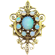 14k Yellow Gold Ornate 2.50ct Multi Color Opal Brooch Pin Pendant