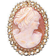 Vintage Ornate 14k Yellow Gold Carved Shell Cameo Woman Portrait Brooch Pin Pendant