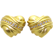 18k Yellow Gold .50ct Round Cut Diamond Heart Shell Earrings Swirl Ear Clips non-pierced