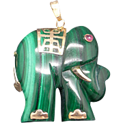 14k Yellow Gold Carved Green Malachite Elephant Charm Pendant Animals & Insects