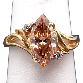 Beautiful 14k Yellow Gold 1.79ct Marquise Peach Tourmaline Diamond Cluster Cocktail Ring Size 5.25