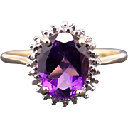 10k Yellow Gold 1.25ct Oval Cut Amethyst Solitaire Halo Ring Size 6.5