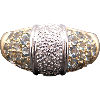 Unique Vintage 14k Yellow Gold 1.50ct Blue Topaz Diamond Pave Cluster Dome Band Ring Size 8