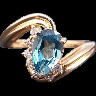 Fantastic 14k Yellow Gold 1.35ct Pear Shape Blue Topaz Diamond Wave Cluster Ring Sz 6.5