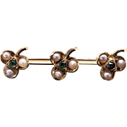 Vintage Estate 14k Yellow Gold Vintage Round Emerald Seed Pearl Clover Flower Brooch Bar Pin