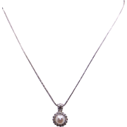 Adorable 14k White Gold 6mm White Cultured Pearl Round Diamond Cluster PendantNecklace
