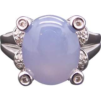14k White Gold 6ct Cabochon Chalcedony Diamond Cluster Cocktail Ring Size 5.75