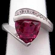 Outstanding 14k White Gold 3ct Trillion Cut Pink Tourmaline Round Cut Diamond Ring Size 7.25