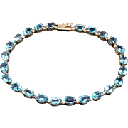 14k Yellow Gold 9ct Pear Shape Blue Topaz Tennis Link Bracelet 7 inch