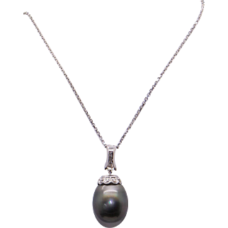 Exquisite 18k White Gold 16mm Round Black Grey Tahitian Cultured Pearl & Diamond Pendant Enhancer Necklace 19""