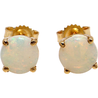 14k Yellow Gold .80ct Round Cut Cabochon Multi Color Opal Stud Earrings With Push On Backs