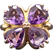 Fantastic 10k Yellow Gold Heart Shaped 3ct Amethyst Clover Flower Cluster Ring size 7.25