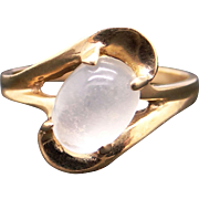 Adorable 14k Yellow Gold Cabochon Cut 1.15ct Moonstone Solitaire Ring Size 4