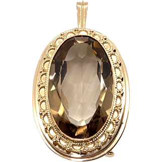 Huge Vintage 14k Yellow Gold 50ct Oval Cut Brown Topaz Brooch Pin Pendant