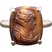 Vintage Estate 14k Yellow Gold Carved Stone Tiger Eye Cameo Maidenn Solitaire Ring Size 4.5