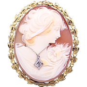 Vintage Estate 10k Yellow Gold Carved Shell Cameo Woman Wearing Diamond Pendant Brooch Pin