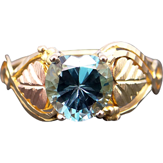 10k Yellow & Rose Gold 1ct Heart Shaped Blue Topaz Love Solitaire Ring Size 7