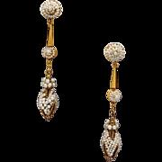 Victorian 14k Yellow Gold Seed Pearl Dangle Drop Earrings Non Pierced
