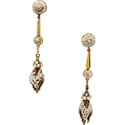Victorian 14k Yellow Gold Seed Pearl Dangle Drop Earrings Non Pierced