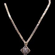 "Unique 14k Yellow White Gold .30ct Diamond Square Cluster Pendant Necklace 18"""