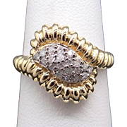 Adorable 14k Yellow White Gold .40ct Round Diamond Cluster Band Ring size 7