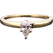 Classic 14k Yellow Gold .30ct Pear Shape Diamond Solitaire Promise Engagement Wedding Ring Size 8