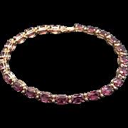 14k Yellow Gold Oval Cut 11ct Purple Rhodolite Garnet Tennis Link Bracelet 7.25 inch