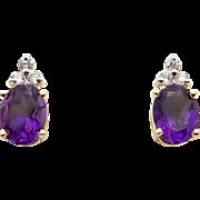 14k Yellow Gold 2.18ct Oval Cut Amethyst Diamond Stud Earrings