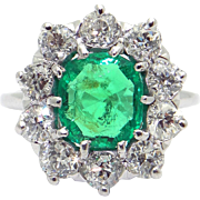 Vintage Art Deco Platinum 3.50ct Cushion Cut Emerald and Diamond Cocktail Halo Ring Size 6.5