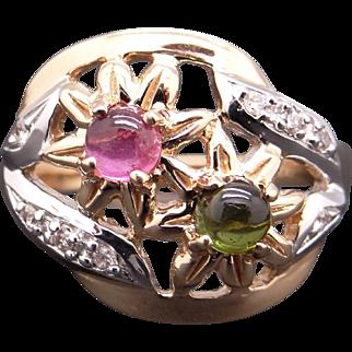 Unique 14k Yellow Gold .68ct Cabochon Cut Pink Green Tourmaline Diamond Flower Ring Size 8.25