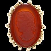 Unique 14k Yellow Gold Carved Stone Sardonyx Carnelian Cameo Ring
