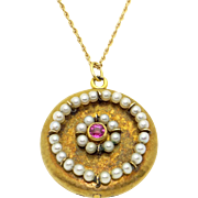 Art Deco Era 14k Yellow Gold .25ct Ruby Pearl Picture Locket Pendant Necklace 17 inch Chain