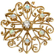14k Yellow Gold .25ct Diamond Multi Color Opal Circle Flower Brooch Pendant