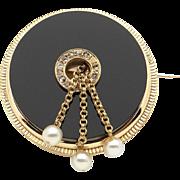 Amazing 18k Yellow Gold Onyx Diamond Cultured Pearls Disc Brooch Pin