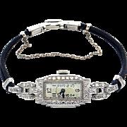 Vintage Art Deco 14k White Gold Diamond Hamilton Manual Wind Watch 17 Jewels 995