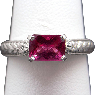 Fine Platinum 18k Yellow Gold 1ct Cushion Cut Pink Tourmaline Solitaire Ring Size 7.5