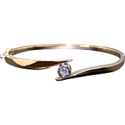 Beautiful Vintage 14k Yellow Gold .20ct Round Cut Diamond Bezel Tennis Bangle Cuff Bracelet 6.75 inches
