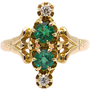 Art Deco 14k Yellow Gold .35ct Round Green Glass & Diamond Cluster Ring Size 6.5