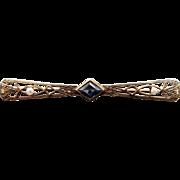 14k Yellow Gold Princess Cut .70ct Blue Sapphire & Cultured Seed Pearls Filigree Bar Pin