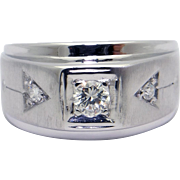 Mens 14k White Gold .25ct Round Cut Diamond Band Ring