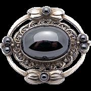 Vintage Georg Jensen Denmark Sterling Silver Hematite Brooch Pin