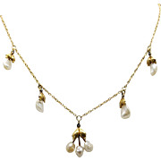 Victorian 14k Yellow Gold Pearl Flower Leaf Dangle Drop Necklace 15 inch