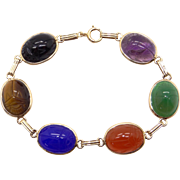 Art Deco Era 10k Yellow Gold Multi Stone Carved Scarab Bracelet