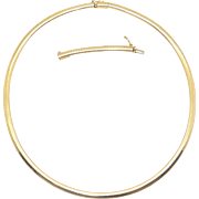 14k Yellow Gold 4mm Omega Flexible Slide Chain Necklace 18 inch w Extension
