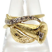 Amazing 18k Yellow Gold .20ct Round Diamond Cluster Calla Lily Flower Band Ring Size 8