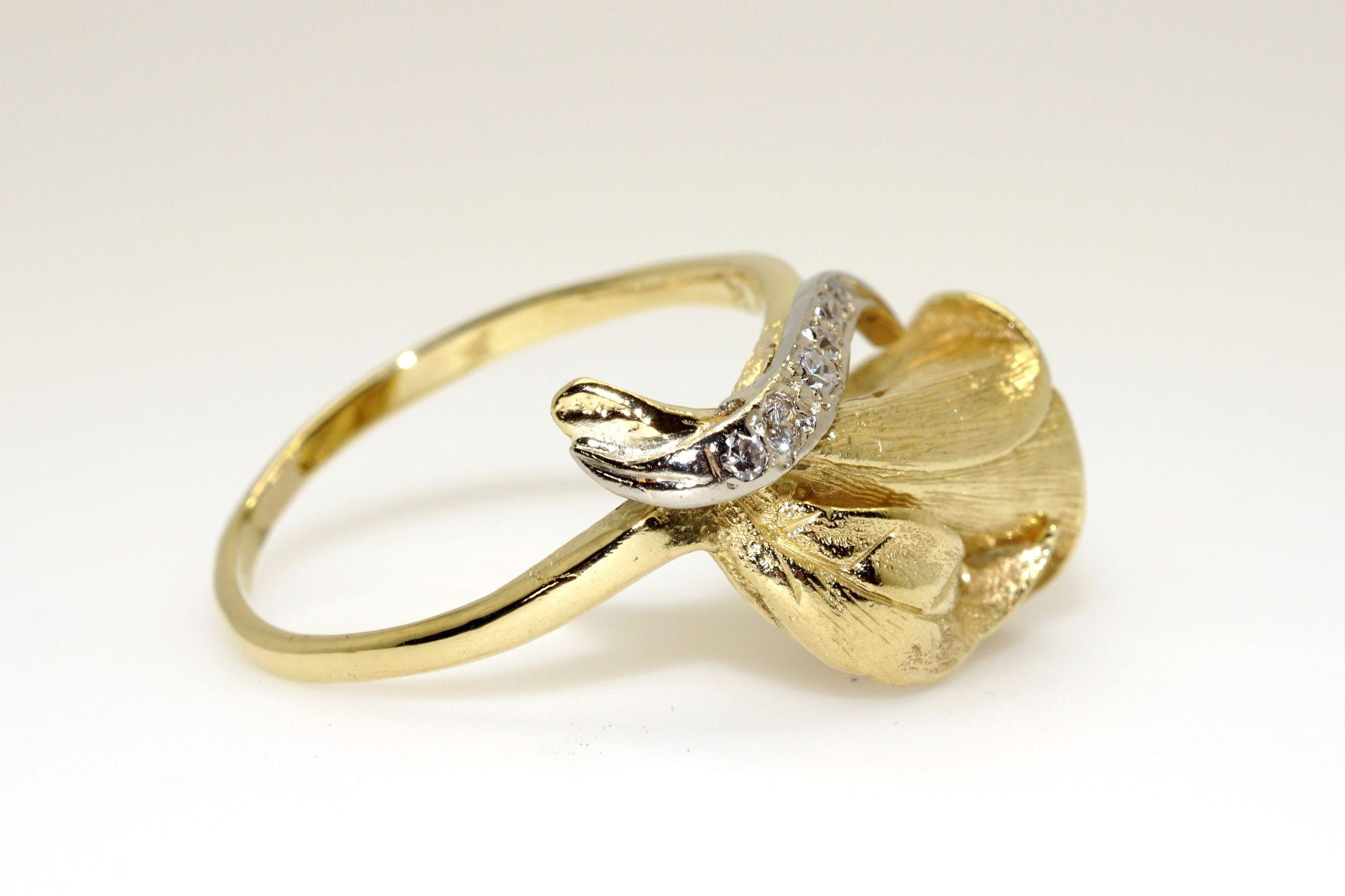 Amazing 18k Yellow Gold 20ct Round Diamond Cluster Calla Lily