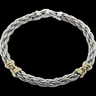Vintage David Yurman Hampton Silver & 18k Yellow Gold 7mm Cable Cuff Bangle Bracelet
